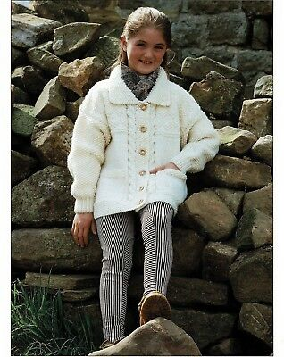 "Girls ""Easy Knit"", Chunky Pattern Jacket with Collar, Knitting Pattern Copy 458"