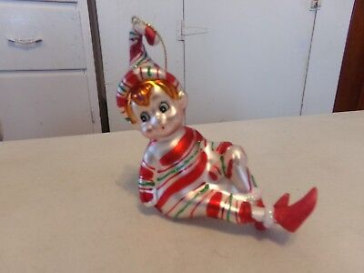Elf Pixie Blown Glass Ornament Shelf Sitter Candy Striped Outfit Nwt