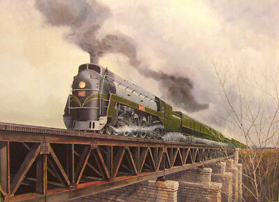 "Alan KINGSLAND "" Crossing the 16 "" LTD art print Train watercolour mile creek"