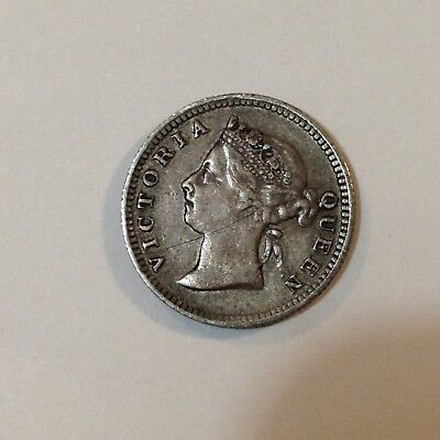 1897 Straits Settlements (Malaysia), 5 Cents Silver Coin, *Low Mintage* Antique
