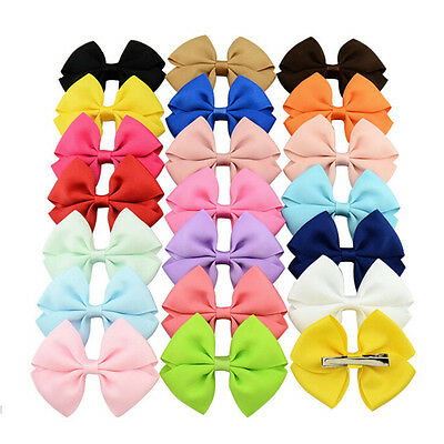 20pcs Baby Kids Girls Grosgrain Ribbon Bow Hair Clip Hairpin Alligator Clips BDA