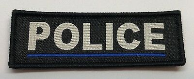 Thin Blue Line Police Black Woven Patch, Police, Hook Rear, 1 X Patch