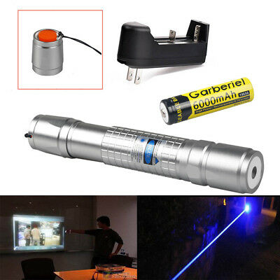 20Miles Blue 405nm Laser Pointer Pen Visible Beam High Light +Battery&Charger