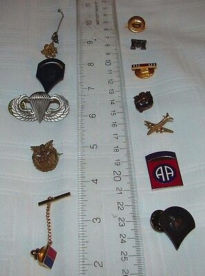 Lot Of 13 Miscellaneous Military Army Pins Tie Clasps Tie Tac Pins Vintage