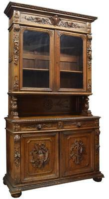 FRENCH HENRI II STYLE RELIEF CARVED BOOKCASE, 19th Century ( 1800s )