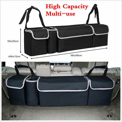 Car Interior Seat Back High Capacity Multi-Pocket Storage Organizer Bag Black