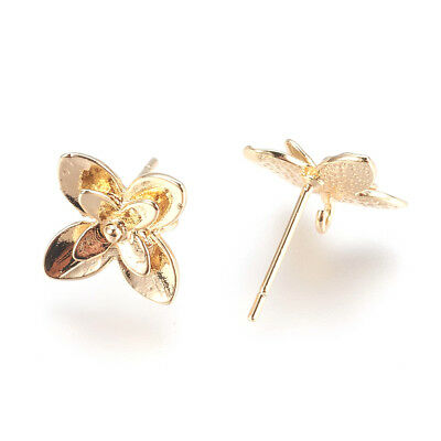 20pcs Gold Plated Brass 3D Flower Earring Posts Dangle Loop Stud Finidngs 10.5mm