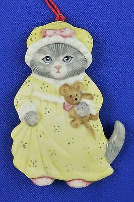 Vintage Kitty Cucumber Cat in Nightgown Christmas Ornament Shackman Schmid