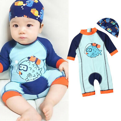 2019 New Baby Kid Boy Sun Protective Swimwear Rash Guard Costume Bathing Suit