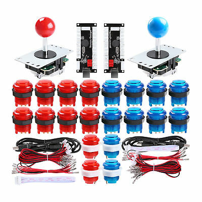 2 Player Arcade DIY Parts 2x USB Encoder + 2x Joystick + 20x LED Arcade Buttons