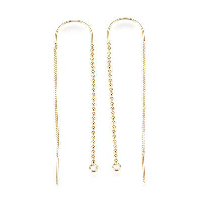 10pc Gold Plated Brass Threader Earring Chains Pull Through Curved Holder 72.5mm