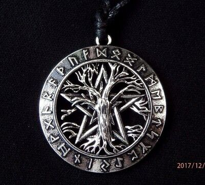 Silver Pentagram Tree of Life Runes Wicca Norse Viking Pendant Necklace