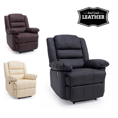 Seattle Leather Hand Recliner Raise Armchair Sofa Home Lounge Chair Gaming Uk