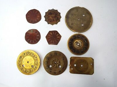 9 Brass Clock Faces Vintage Antique Clockmaker Parts For Repair Victorian