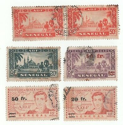 Senegal x6 used stamps dated 1935 to 1944.