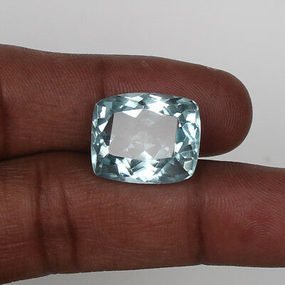 19.25 Ct Natural Aquamarine Greenish Blue Color Cushion Cut Loose Certified Gem