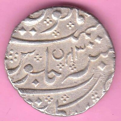 French India-Arkat Mint-Ah:1220-Shah Alam-One Rupee-Rarest Silver Coin-31