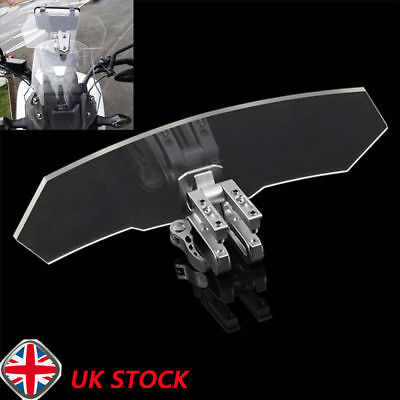 Universal Motorcycle Adjustable Clip-On Windshield Extension Spoiler Screen New