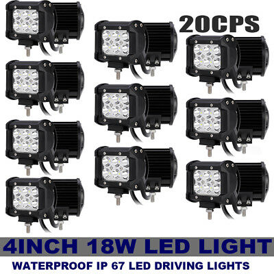 "20X 18W 4""in Led Bar Work Light Spot Beam Offroad Driving Fog Lamp Atv Suv 4Wd"