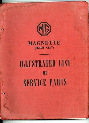Mg Magnette Za Illustrated List Of Service Parts