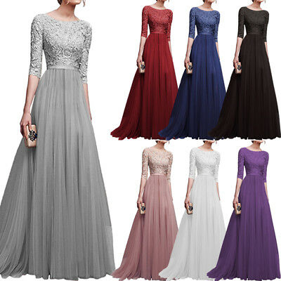 AU Womens Lace Chiffon Dress Ball Gown Prom Wedding Bridesmaid Long Maxi Dresses