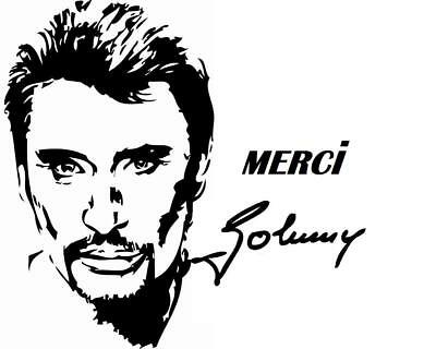 Sticker Signature Johnny Hallyday Rock Et N Roll 20cm Couleurs Au