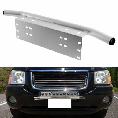 23inch License Number Plate Frame Bull Bar Light Holder Mount Bracket Silver