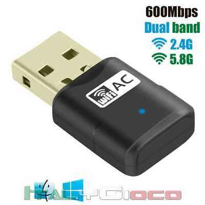 Chiavetta USB Dongle Wifi 600 Mbps Adattatore Wireless Antenna 2.4GHz/ 5GHz Nero