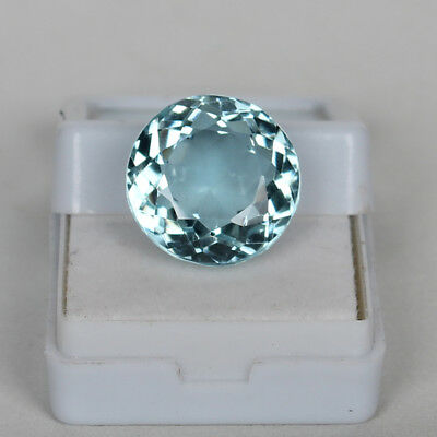 Natural 18.20 Ct Certified Greenish Blue Color Aquamarine Round Cut Loose Gem