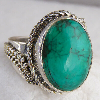 Asymmetrical SILVERSARI Gem Ring Size US 6.5 Solid 925 Silver NATURAL TURQUOISE