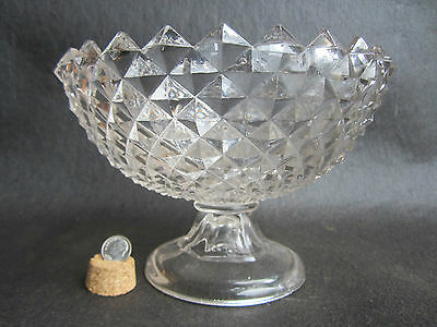 Antique EAPG Civil War Era Pressed Glass Sawtooth Pattern Glass Footed Base Bowl