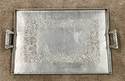 """Mid-Century Hand Forged Everlasting Metal Hammered 995 Aluminum Tray 24"""" x 14.5"""""""