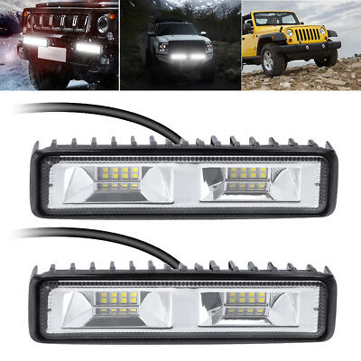 2x 6inch 48W 16LED Work Light Flood Beam Bar Car SUV OffRoad Driving Fog Light