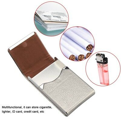 Cigarette Case Cigar Tobacco Pocket PU Leather Pouch Box Holder Stainless Steel