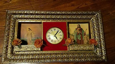 Vintage Lanshire Clock In Ornate Brass Tone Filigree Religious Wall Hanger & Tag