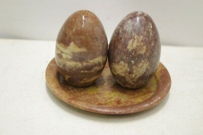 Vintage Marble ? Egg Shaped Salt & Pepper Pots & Stand / Small Dish