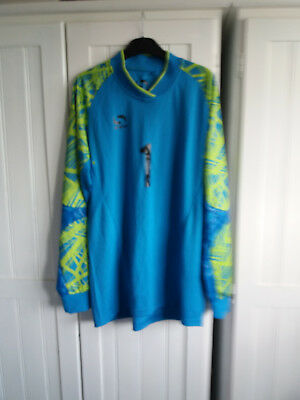 Mens size M , Sondica goal keeper shorts and top in blue and green