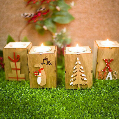 Candle Holders Home Decor Christmas Gifts X-mas Tree Elk Mini Wooden Candlestick