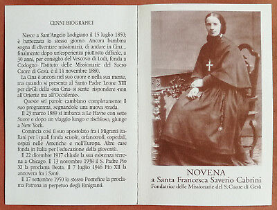 Santino Holy Card a libretto: Santa Francesca Saverio Cabrini