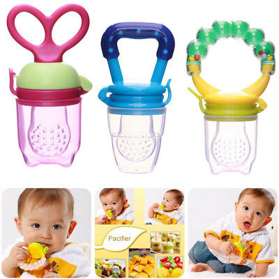 3Pcs Silicone Feeders Baby Pacifier Fruit Food Nipple Feeding Spoon Soother Set