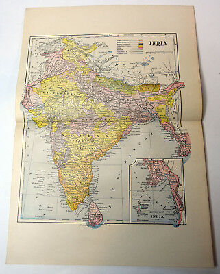 "1890s Antique ORIGINAL 15"" Map India Bay of Bengal"
