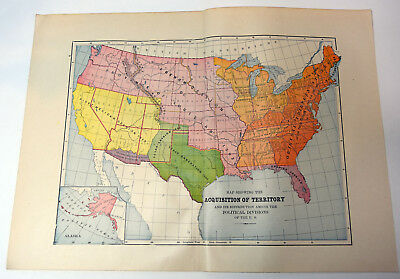 "1890s Antique ORIGINAL 14"" US America Acquisition of Territory Map Political"