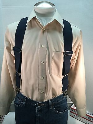 """New, Men's, Navy Blue , Large, 2"""", Adj.  Side Clip Suspenders, Made in the USA"""