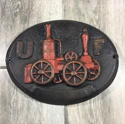 Vintage UF Insurance Cast Iron Plaque United Firemans Fire Fighter Steam Truck