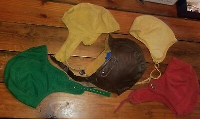 Lot of 5 VINTAGE Aviator Cap Hat Headgear ONE LEATHER FOUR CLOTH Asst Colors OLD