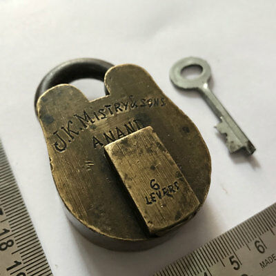 old antique solid brass small miniature padlock lock with key J K MISTRY & SONS