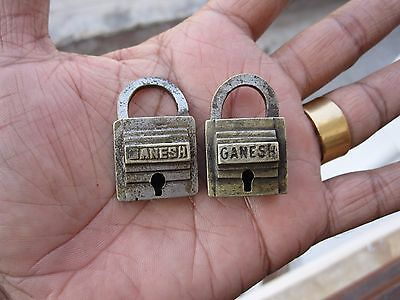 A Pair Of Old Or Antique Solid Brass Padlock Lock With Key Small Miniature