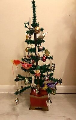 Antique Musical Revolving German Goose Feather Christmas Tree / Vintage