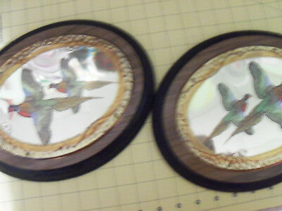 Pair  vintage pheasants wall plaque on wood and brass metal