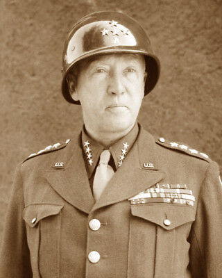 General George Patton Wwii Us Army Military Sepia Photo
